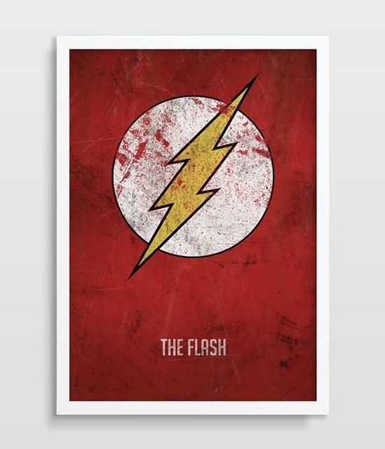 The Flash Poster Superhero Wall Art Distressed Art Print Dc Comics Regarding Superhero Wall Art (Image 17 of 20)