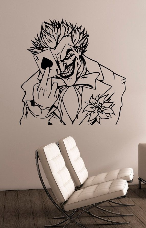 The Joker Wall Art Decal Vinyl Sticker Dc Comics Antihero Art Regarding Joker Wall Art (Image 16 of 20)
