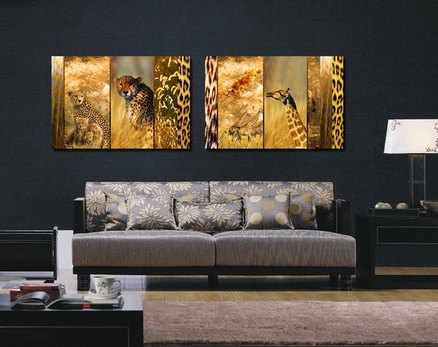 The Leopard And Long Deers Canvas Prints Home Decor Modern Animal Inside Long Canvas Wall Art (View 9 of 25)
