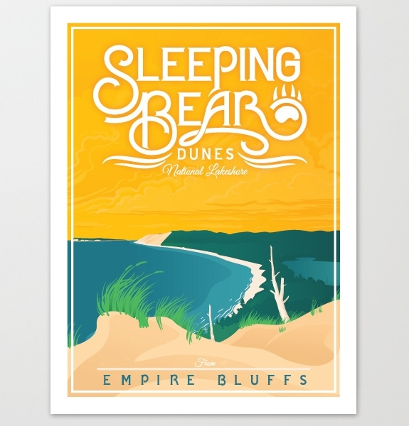 The Mighty Mitten – Sleeping Bear Dunes Michigan Travel Art Prints In Michigan Wall Art (Image 22 of 25)