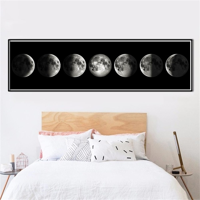 The Moon Phase Black White Posters Canvas Art Prints Nordic Wall Art Throughout Wall Art Prints (Image 18 of 20)