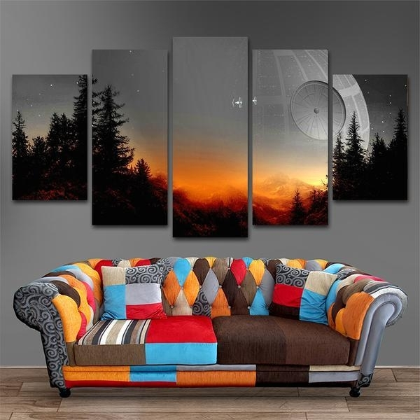 The Star Wars Death Star Scene | 5 Panel Wall Art Canvas Prints For 5 Panel Wall Art (Image 25 of 25)