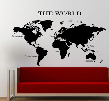 The World Map Wall Art Sticker Planet Earth Decal V1 For World Map For Wall Art (Image 16 of 25)