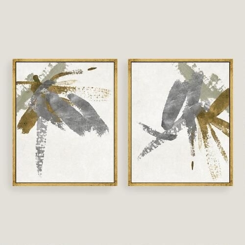 Thick Silver And Gold Brushstrokes Stretch Across Two Panels In World Market Wall Art (Image 16 of 25)