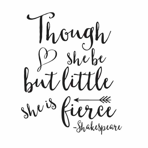 Though She Be Vinyl Wall Decal Though She Be But Little She Is Fierce For Though She Be But Little She Is Fierce Wall Art (Image 25 of 25)