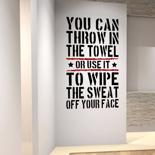 Throw In The Towl Home Gym Motivational Wall Decal Quote Fitness With Regard To Motivational Wall Art (Image 24 of 25)