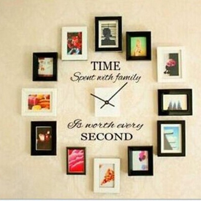 Time Spent With Family Quote Wall Decoration Letters Vinyl Home Wall With Letter Wall Art (Image 19 of 25)