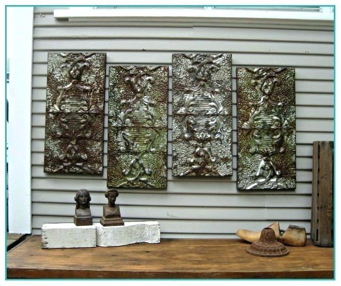 Tin Wall Art Five Piece Canvas Wall Art Pressed Tin Wall Art Vintage In Tin Wall Art (View 8 of 25)