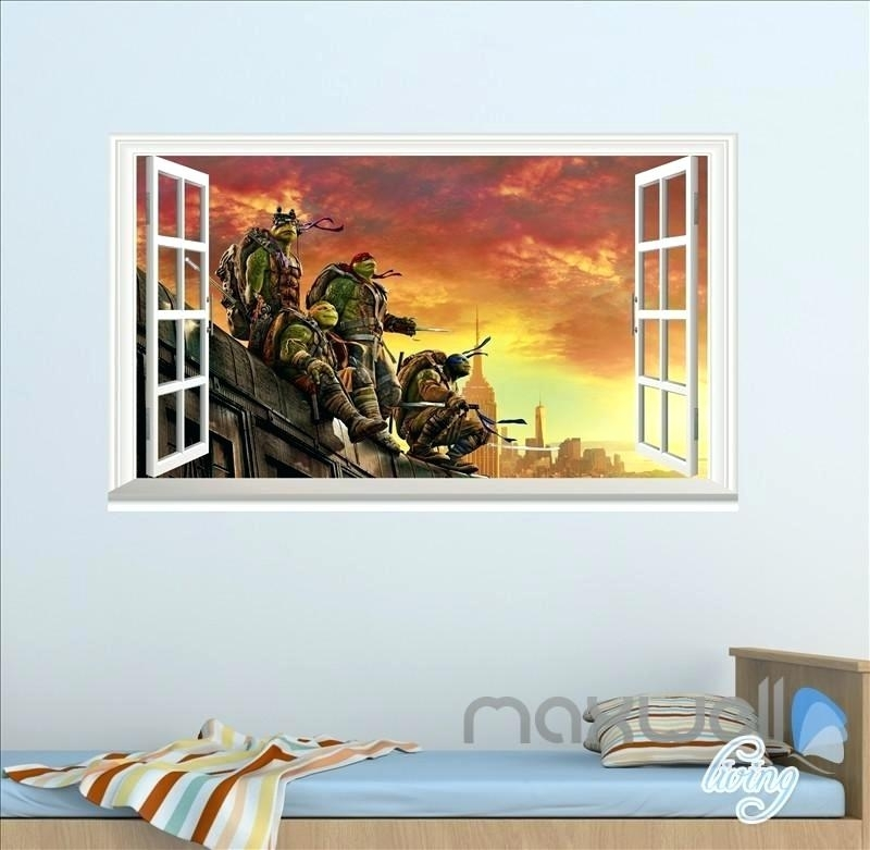 Tmnt Wall Decals Teenage Mutant Ninja Turtles Wall Decal Room Decor With Ninja Turtle Wall Art (Image 25 of 25)