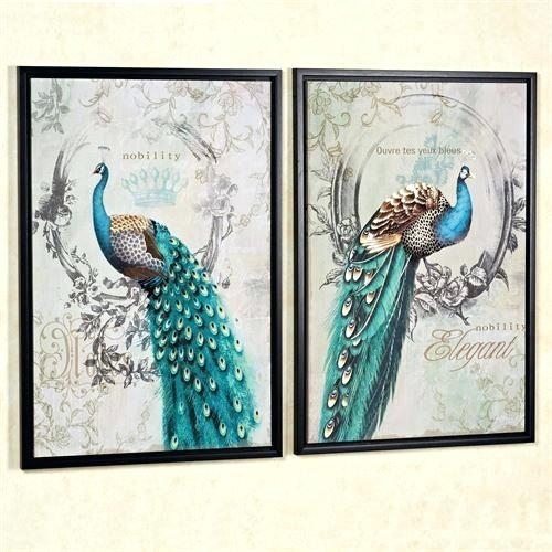Touch Of Class Wall Art Panache Peacock Wall Art Teal Set Of Two In Touch Of Class Wall Art (Image 20 of 25)