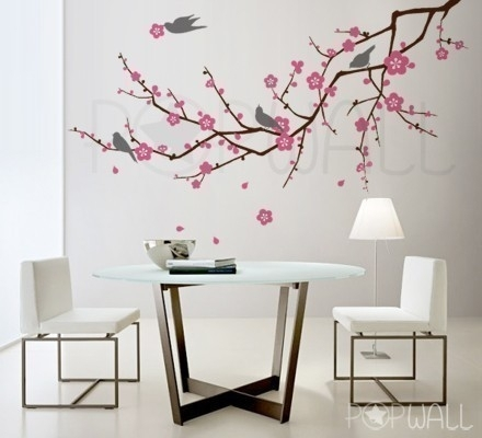 Tree, Birds, Flower – Cherry Blossom Tree Branch Wall Decal Wall Inside Cherry Blossom Wall Art (View 15 of 25)