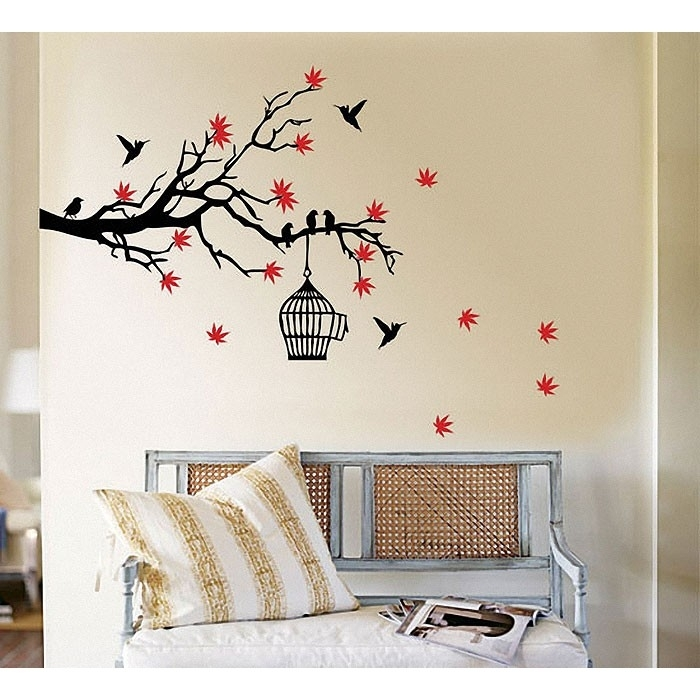 Tree Branch Blossoms With Birds And Birdcage Wall Art Decal Pertaining To Bird Wall Art (Image 9 of 10)