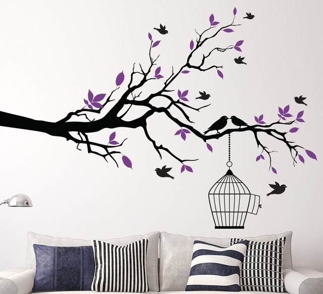 Tree Branch Wall Art Sticker With Bird Cage Removable Vinyl Wall Regarding Home Wall Art (View 8 of 25)