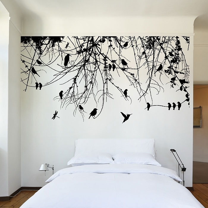 Tree Branch With Birds And Dragonfly Vinyl Wall Art Decal Regarding Vinyl Wall Art (Image 8 of 10)