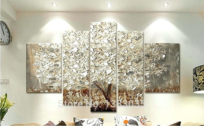 Tree Canvas Wall Art White And Silver Wall Art Wonderful Hand Regarding Silver Wall Art (Image 18 of 20)