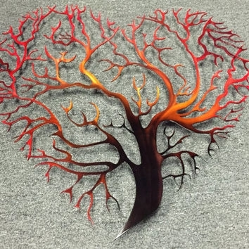 Tree Heart Metal Wall Art – Tree Metal From Inspiremetals On Etsy Intended For Metal Wall Art Trees (Image 16 of 25)