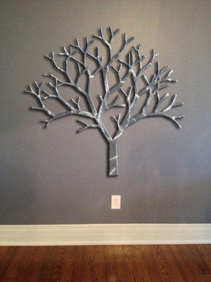 Tree Metal Wall Art – Silver Wall Decor – Tree Art – Metal Art Intended For Metal Wall Art Trees (View 11 of 25)
