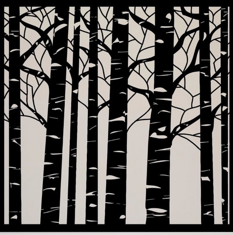 Tree Vinyl Wall Decal Birch Tree Wood Forest Large Mural Art Wall In Birch Tree Wall Art (Image 24 of 25)