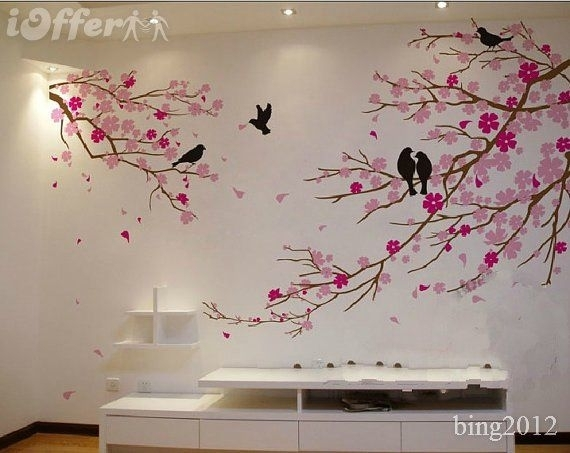 Tree Wall Art | Cherry Blossom With Birds Wall Decal Tree Wall Decor With Regard To Cherry Blossom Wall Art (View 2 of 25)