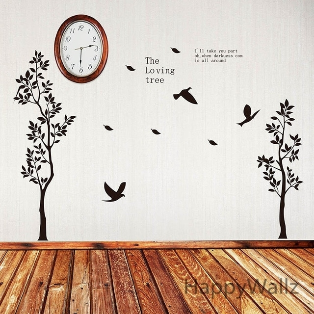 Tree Wall Sticker Loving Tree Wall Decal Diy Easy Wall Sticker Inside Wall Art Decors (Image 7 of 10)