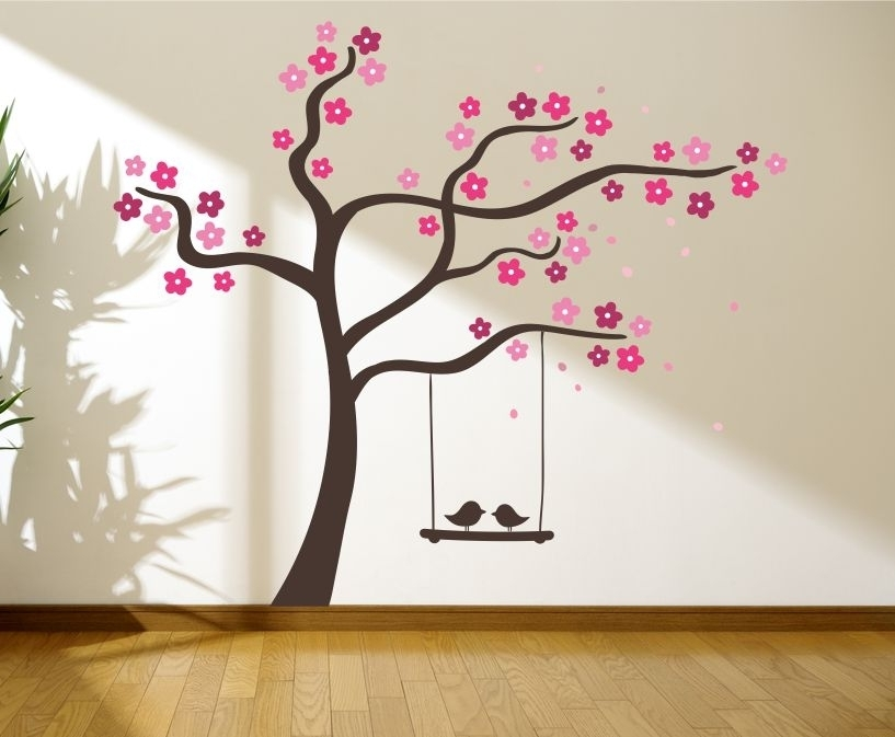 Tree With Love Birds On A Swing Wall Graphics, Wall Graphic, Tree Pertaining To Wall Tree Art (View 3 of 20)