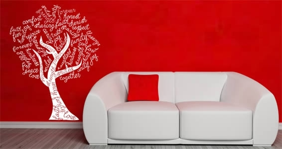 Tree Word Art Wall Stickers | Dezign With A Z With Word Art For Walls (View 11 of 20)