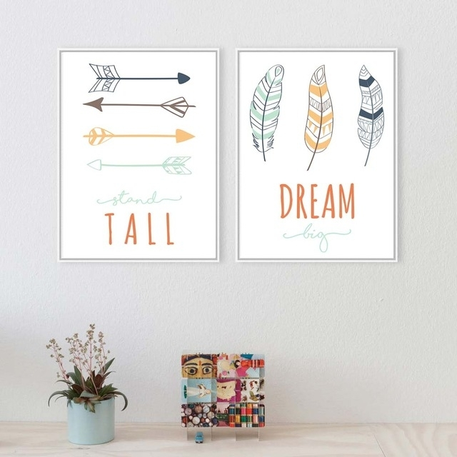 Tribe Deer Feather Arrow Wall Art Canvas Poster Nursery Quote Prints Intended For Arrow Wall Art (View 2 of 20)