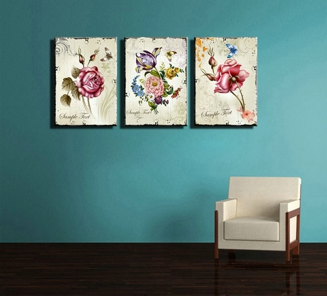 Triptych Cheap Modern Canvas Prints Rose Drawing Picture Wall Art Pertaining To Cheap Canvas Wall Art (View 2 of 10)