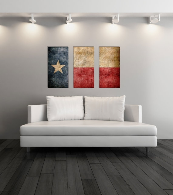 Triptych Vintage Texas Flag, Panel Canvas Art, Vintage Texas, Wall With Regard To Texas Wall Art (Image 23 of 25)