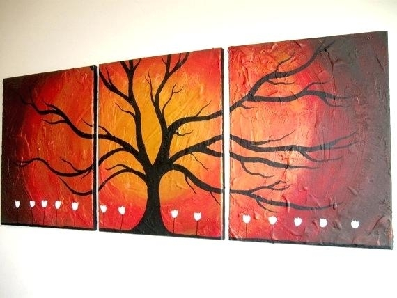 Triptych Wall Art Canada Gold Tree Texture Impasto 3 Panel Regarding Triptych Wall Art (Image 21 of 25)