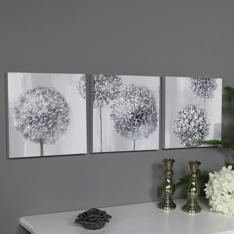Triptych Wall Art Grey Flower Canvas Print – Melody Maison® Pertaining To Gray Canvas Wall Art (View 4 of 25)