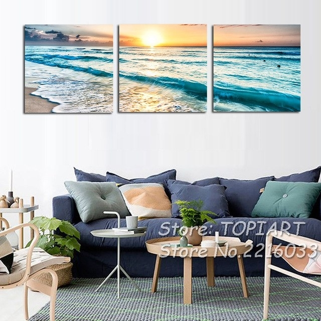 Triptych Wall Art Pictures 3 Panel Coast Waves Sea View Sunset With Triptych Wall Art (View 15 of 25)