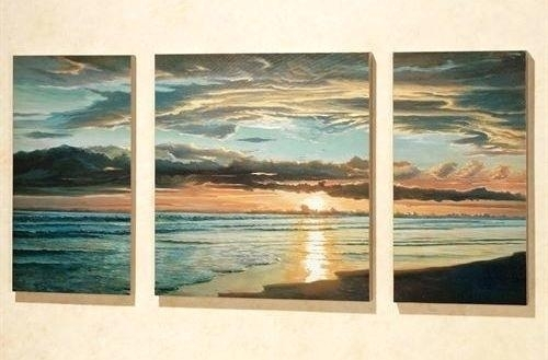 Triptych Wall Art Seascape Sunset Triptych Wall Art 3 Piece Sea Pertaining To Triptych Wall Art (Image 25 of 25)