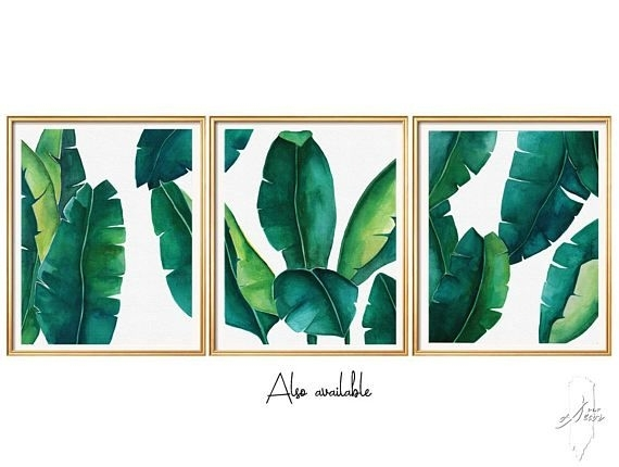 Tropical Leaves Set, Banana Leaf, Set Of 3 Wall Art, Set Of 3 Prints With Regard To Tropical Wall Art (Image 12 of 20)