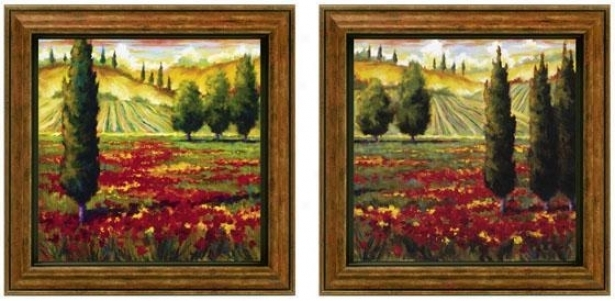 Tuscany In Bloom Framed Wall Art – Set Of 2 – Set Of Two, Green For Set Of 2 Framed Wall Art (Image 16 of 25)