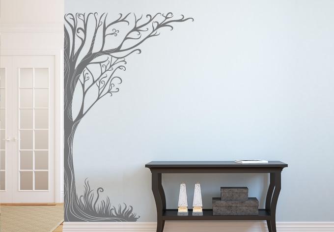 Twine Corner Tree Wall Decal – Floral Vinyl Art Inside Tree Wall Art (Image 9 of 10)