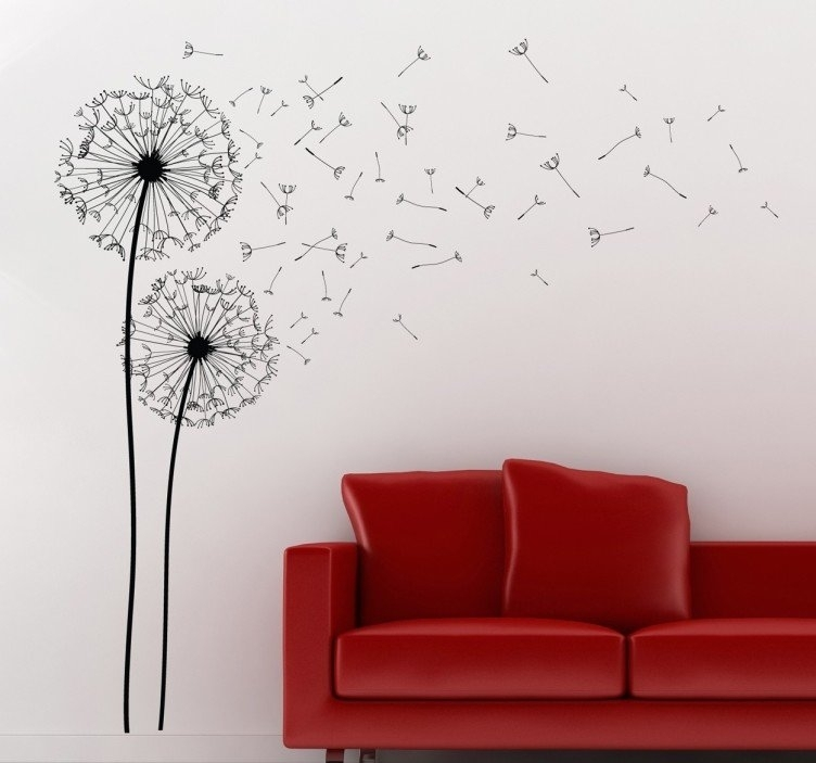 Two Dandelions Wall Art Decal – Tenstickers With Regard To Dandelion Wall Art (Image 25 of 25)