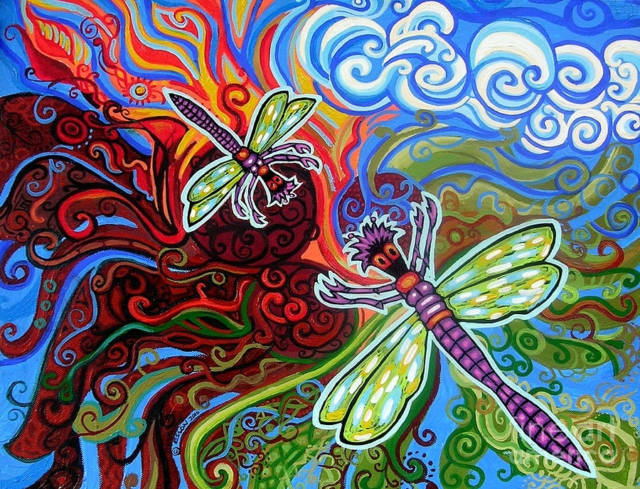 Two Dragonflies Paintinggenevieve Esson With Dragonfly Painting Wall Art (Image 25 of 25)