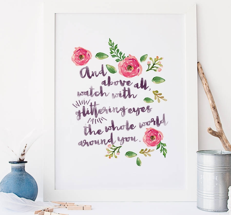 Typographic Quote Floral Wall Art Printrory & The Bean Intended For Floral Wall Art (View 2 of 20)
