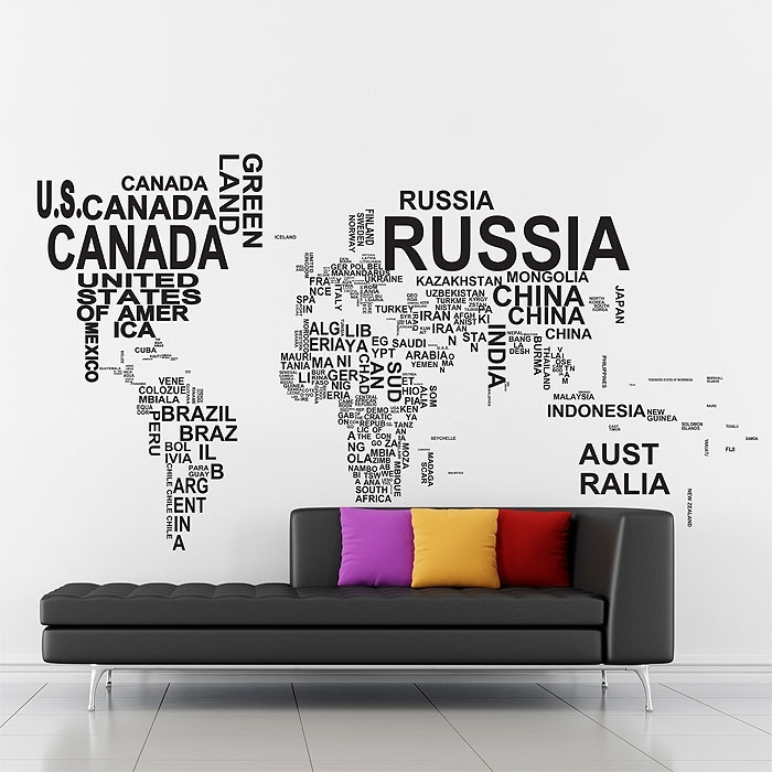Typography World Map V1 Vinyl Wall Art Decal Throughout Vinyl Wall Art World Map (Image 20 of 25)