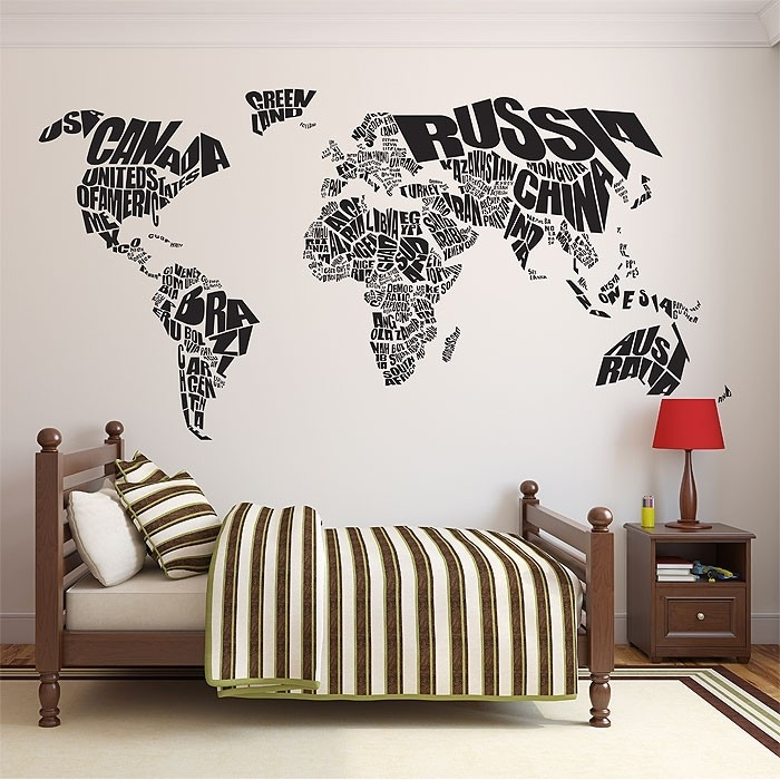 Typography World Map Vinyl Wall Art Decal In Vinyl Wall Art World Map (Image 21 of 25)