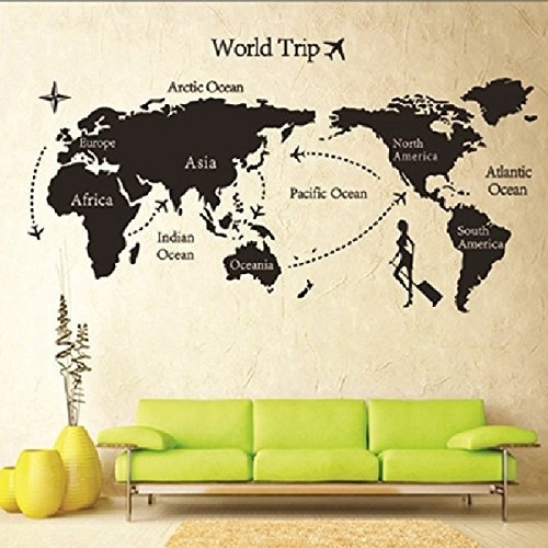 Ukmofhtfvuw Vintage World Map Wall Art – Wall Decoration Ideas With Regard To Map Of The World Wall Art (View 18 of 25)