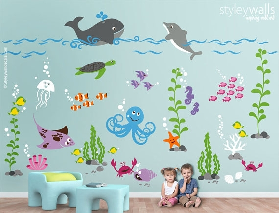 Unbelievable Sea Life Wall Art Minimalist Underwater Decal Ocean Pertaining To Sea Life Wall Art (Photo 7 of 10)