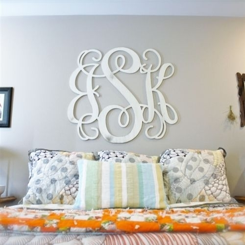 Unfinished Wooden 3-Letter Vine Personalized Custom Monogram Wall throughout Monogram Wall Art