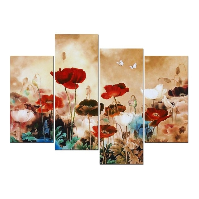 Unframed 4Pcs Modern Contemporary Floral Canvas Prints Blooming Throughout Floral Canvas Wall Art (Photo 15 of 25)