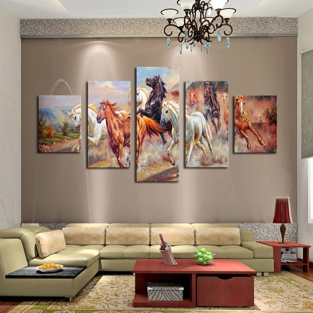 Unframed 5 Panels Canvas Print Painting Modern Running Horse Canvas In Cheap Large Canvas Wall Art (View 14 of 25)
