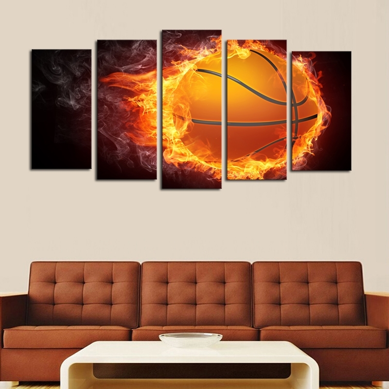 Unframed 5 Pcs Flame Basketball Picture Print Painting Modern Canvas Inside Basketball Wall Art (Image 10 of 10)