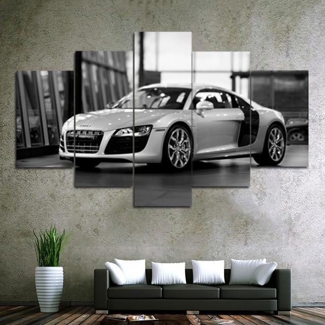 Unframed 5 Piece Car Canvas Prints Painting Home Decor Wall Art Regarding Car Canvas Wall Art (Photo 6 of 25)