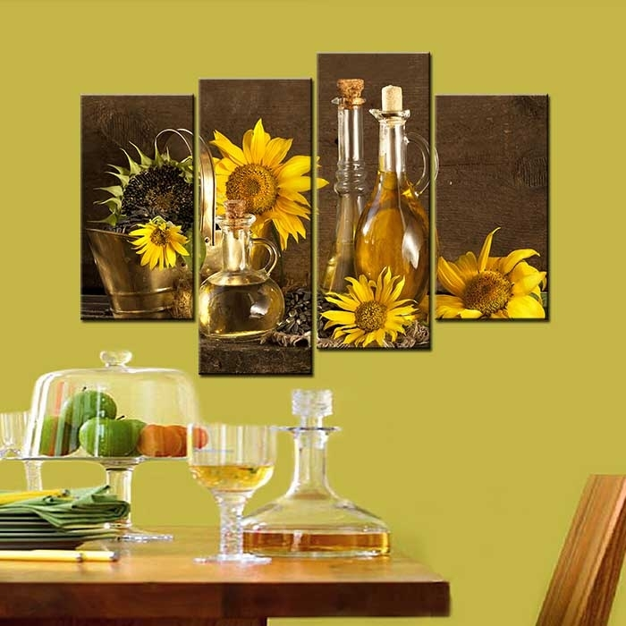 Unframed Home Decorative Canvas Paintings Abstract Sunflower Wall Regarding Sunflower Wall Art (Image 24 of 25)