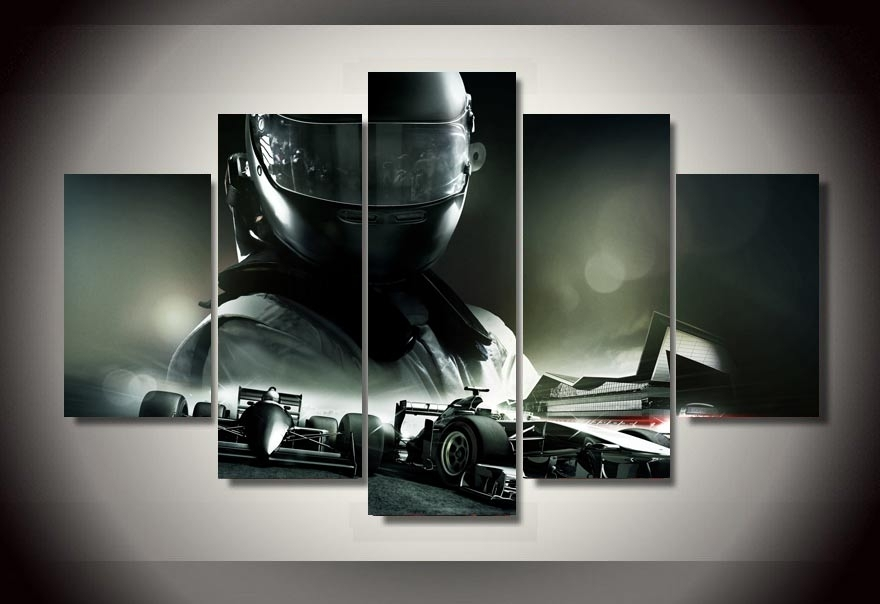 Unframed Printed F1 Racing Car 5 Piece Picture Painting Wall Art In Car Canvas Wall Art (View 18 of 25)
